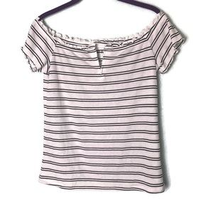 Aeropostale OTS Striped Lettuce Hem Top